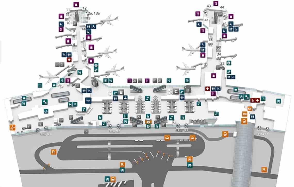 Схема 1 этажа аэропорта «Домодедово»