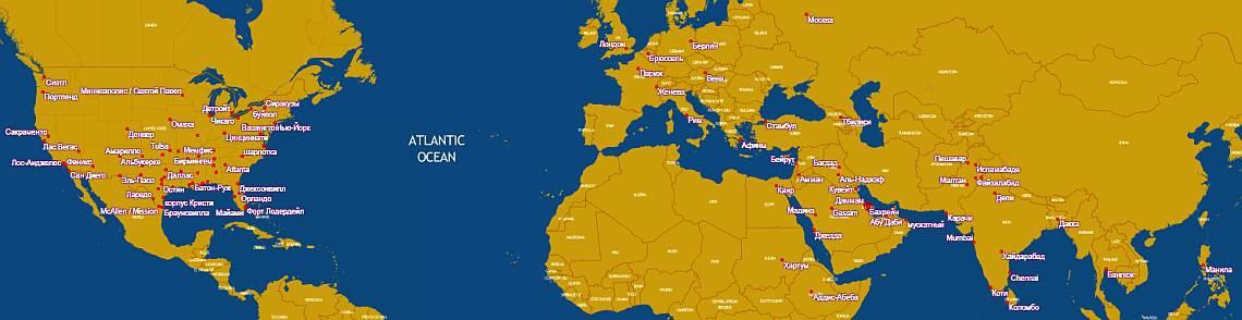 Gulf Air карта маршрутов