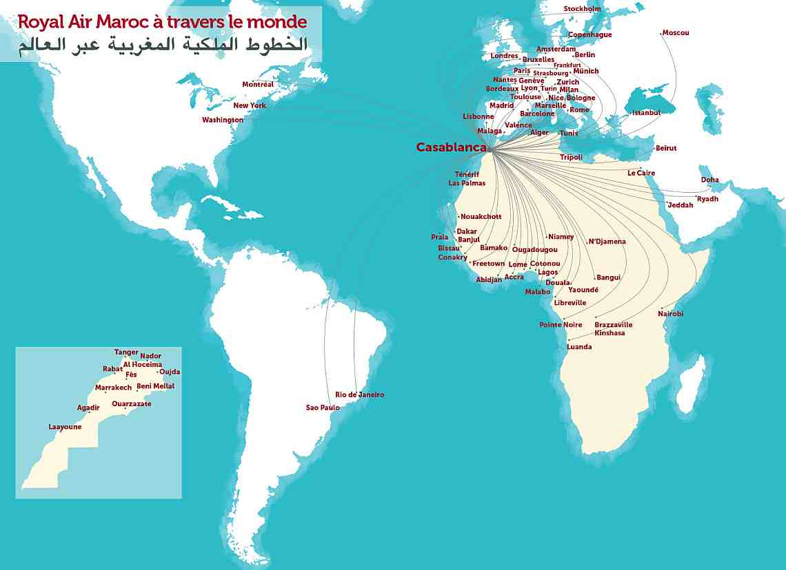 Маршрутная сеть Royal Air Maroc