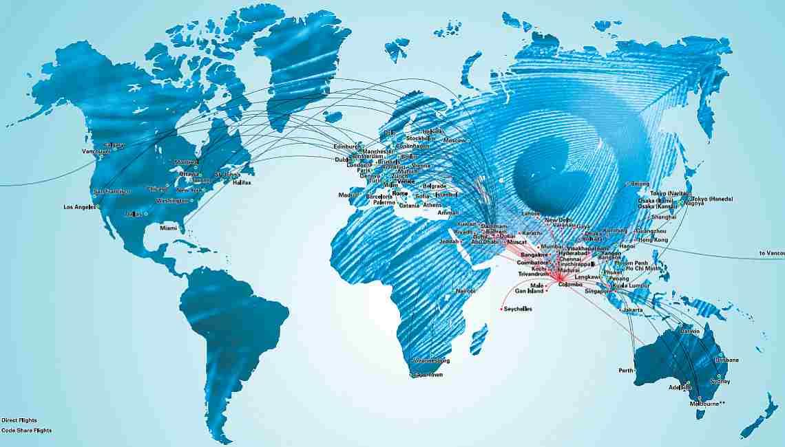 Карта маршрутов SriLankan Airlines