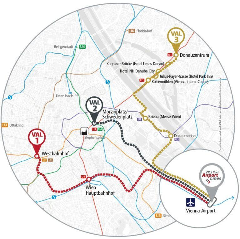Как на автобусе доехать из аэропорта Вены до жд вокзала