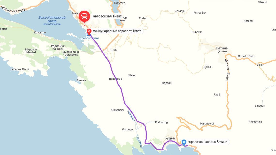 Как добраться из аэропорта Тиват в Бечичи самостоятельно