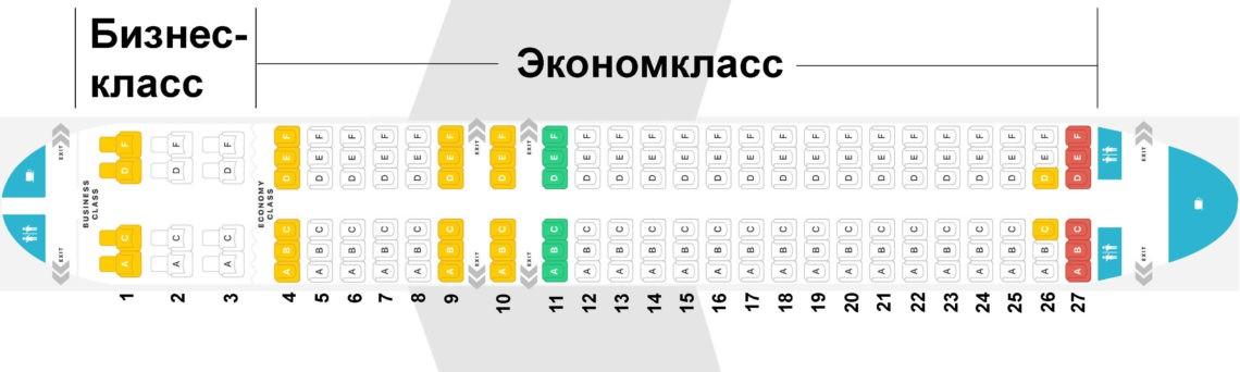 Какие места лучше выбрать в самолете Аэробус Airbus