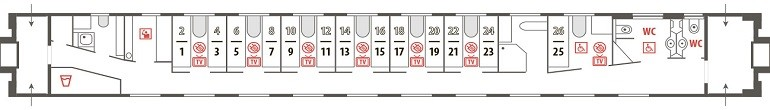 Схема штабного вагона поезда «Арктика» № 016А