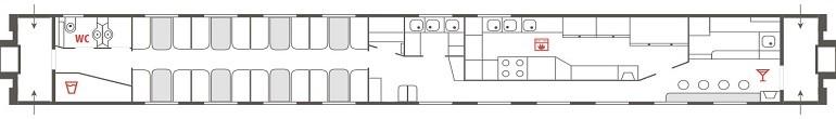 Схема вагона-ресторана поезда «Арктика» № 016А