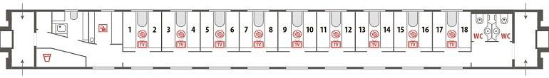 Схема спального вагона СВ поезда «Арктика» № 016А