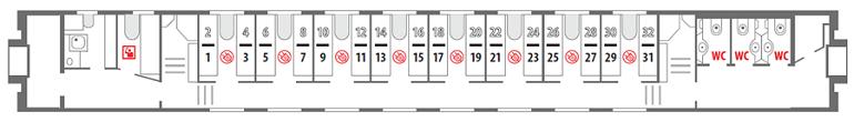 Схема вагона купе 1 этаж Северная Пальмира
