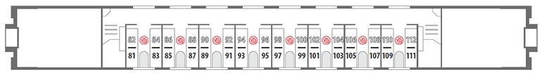 Схема вагона купе 2 этаж Северная Пальмира