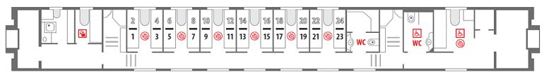 Схема штабного вагона поезда «Северная Пальмира» 1 этаж