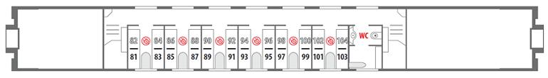 Схема штабного вагона поезда «Северная Пальмира» 2 этаж