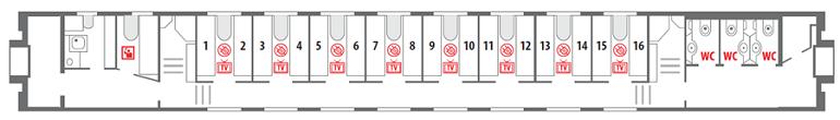 Схема вагона СВ на 1-ом этаже Северная Пальмира