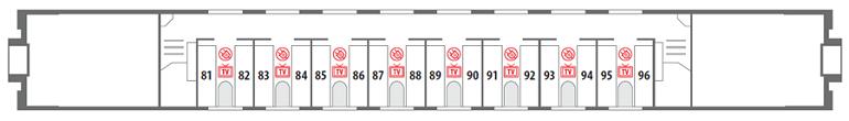 Схема вагона СВ на 2-ом этаже Северная Пальмира