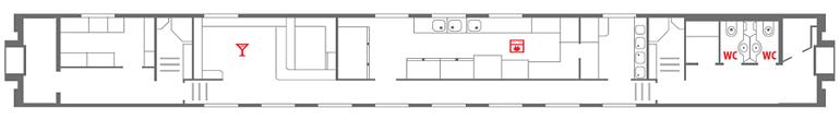 Схема вагона-ресторана поезда «Северная Пальмира» 1 этаж