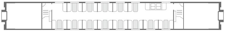 Схема вагона-ресторана поезда «Северная Пальмира» 2 этаж