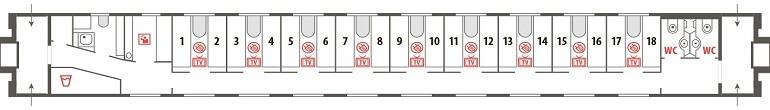 Схема спального вагона бизнес-класса поезда «Волга» 059А