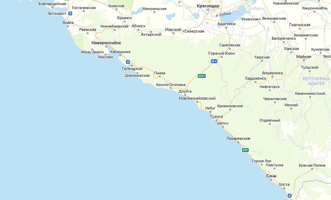 Курорты Черного моря на карте