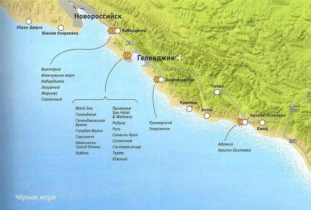 Районы Геленджика на карте